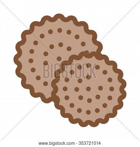 Cookies Breakfast Snack Icon Thin Line Vector. Round Crispy Bakery Cookies Calorie Crunchy Dessert C