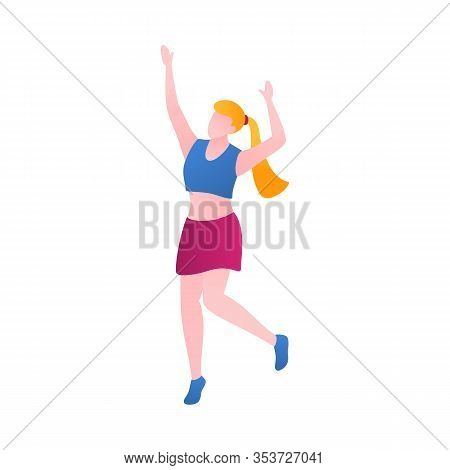 A Girl In The Nightclub, Flat Vector Illustration. Woman Dancing And Perform Having Fun In A Nightcl