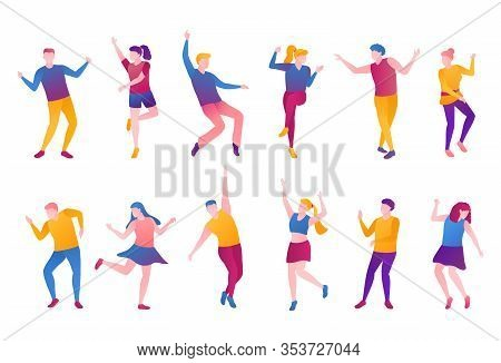People Nightlife Set, Flat Vector Illustration. Adult Man Boys And Girls Clubbers In Bright Clothes