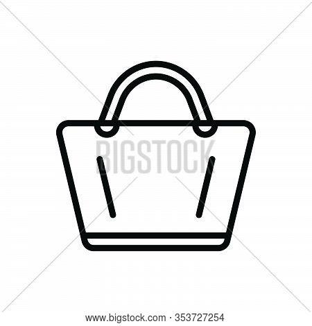 Black Line Icon For Bag Handbag Ladies Pouch Purse Sack Satchel Accessory Glamour Female Shopping