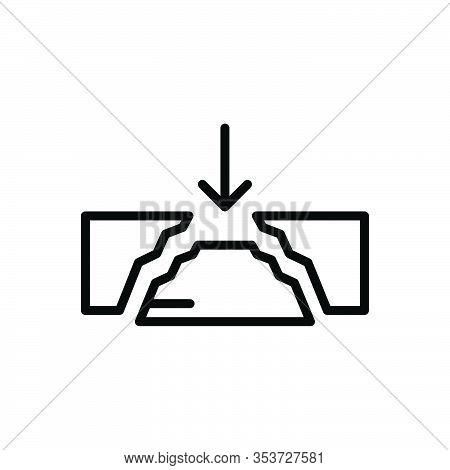 Black Line Icon For Gap Damage Space Break Shatter Unseat Interval Crack Rift Cleft Divided