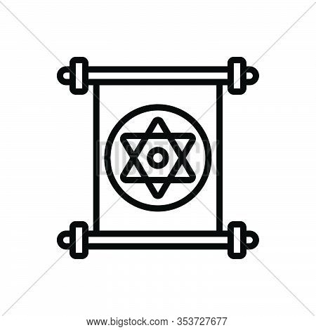 Black Line Icon For Jewish Jew Hebrew Semitic Yiddish Sabra Star David Holy