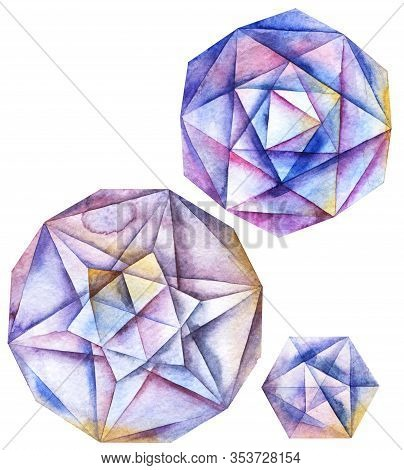 Watercolor Hand Painted Faceted Round Diamond Crystals Set