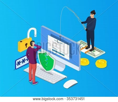 Isometric Login Into Account And Fishing Hook. Internet Phishing, Hacked Login And Password.computer