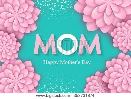 Mothers day flower card. International Happy Mother's Day. Holiday 3d background of pink paper flower on blue backdrop with square frame. Trendy design template. Vector illustration Happy Mother's Day