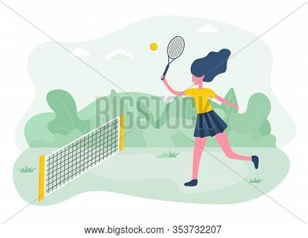 Active Sporty Girl Playing Tennis On Court In Park.