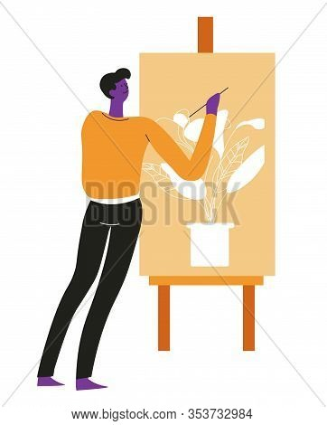 Artist Or Painter Painting Indoor Plant On Easel With Paintbrush