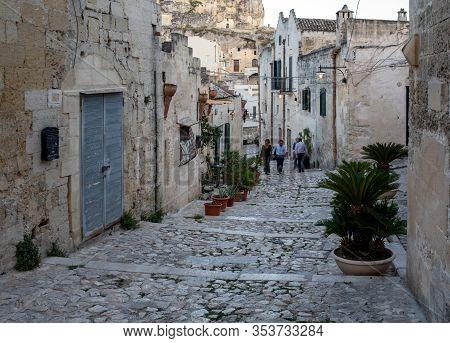 Matera, Italy - September 14, 2019: Cobblestone Street In The Sassi Di Matera A Historic District In