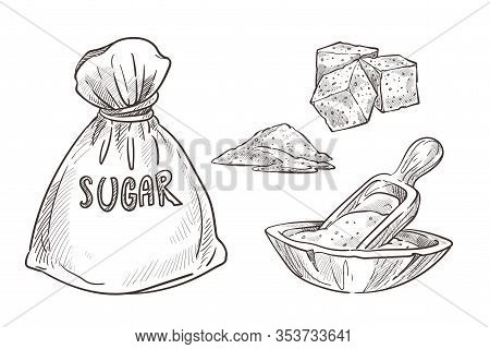 Sugar Stored In Burlap Bag And Wooden Bowl With Scoop Spoon