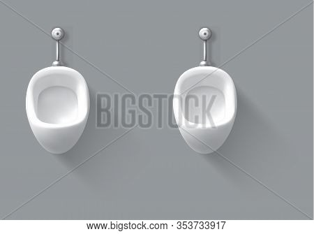 Ceramic Urinal In Male Toilet. Vector Realistic Empty Interior Of Public Restroom For Men With White