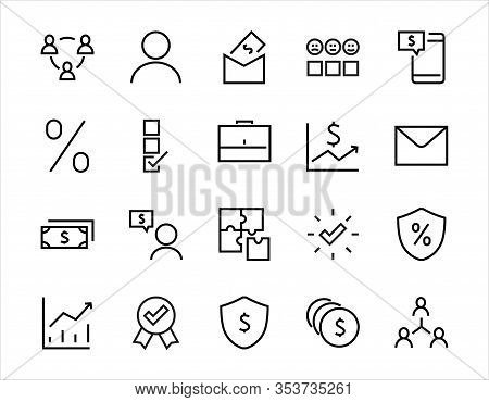 Set Of Business Vector Line Icons. It Contains User Symbols, Dollar Pictograms, Gears, Briefcase, Pu
