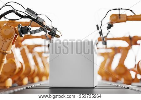 Robotic arms ready to work on an empty box moving along assembly line. Modern heavy industry, technology and machine learning. 3D rendering