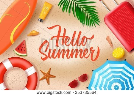 Hello Summer In Sand Background Vector Design. Hello Summer Text With Beach Elements Like Luggage, L
