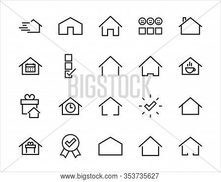 Simple Set Of Color Editable House Icon Templates. Contains Such Icons, Home Calendar, Coffee Shop A