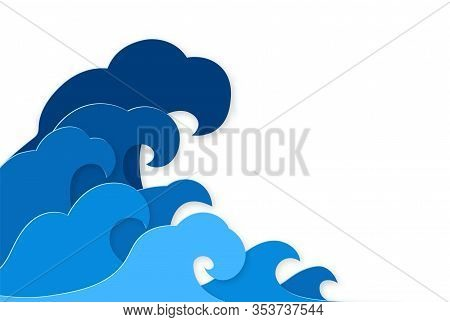 Paper Splash. Curly Splashes Of Blue Water Sea Waves Paper Cut Design, Ocean Storm Tsunami In Japane