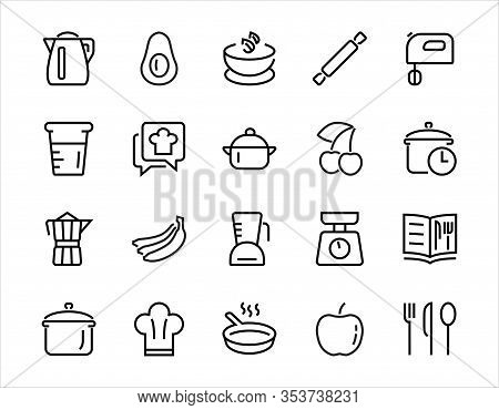 Set Of Icons For Cooking And Kitchen, Vector Lines, Contains Icons Such As A Knife, Saucepan, Boilin