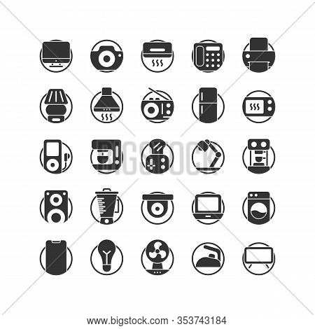 Electrical  Appliance Solid Icon Set. Vector And Illustration.