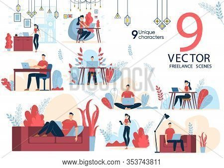 Freelancers Activities Scenes, Distance Work Situations Concepts Trendy Flat Vectors Set. Female, Ma