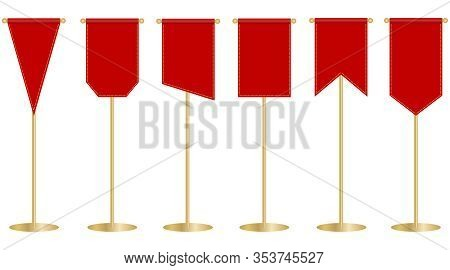 Flagpole, Red Flag On The Flagpole. Red Banner. Vector, Cartoon Illustration.