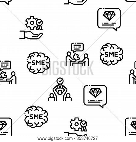 Sme Business Company Seamless Pattern Vector Thin Line. Illustrations