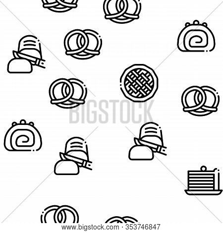 Bakery Tasty Food Seamless Pattern Vector Thin Line. Illustrations