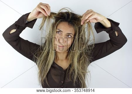 A Beautiful Colombian Woman Having A Messy Wild Hair Day