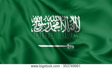 Saudi Arabia Flag Blowing In The Wind. Background Silk Texture. 3d Illustration.