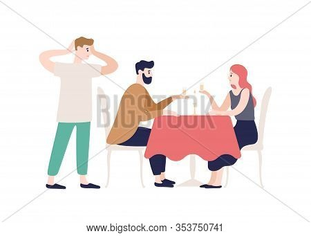 Shocked Husband Watching Cheating Wife With Lover On Dating At Restaurant Isolated On White. Woman B