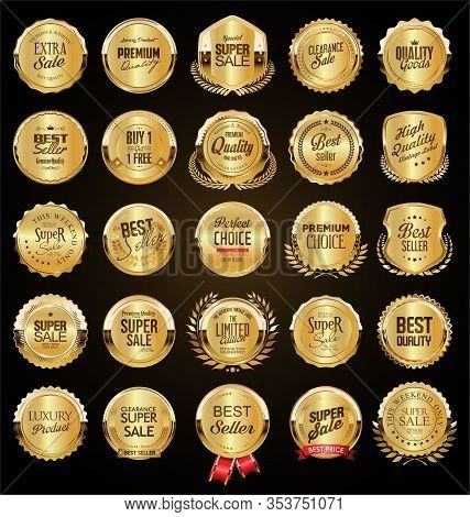 Big Sale Retro Golden Badges And Labels Collection 09651.eps
