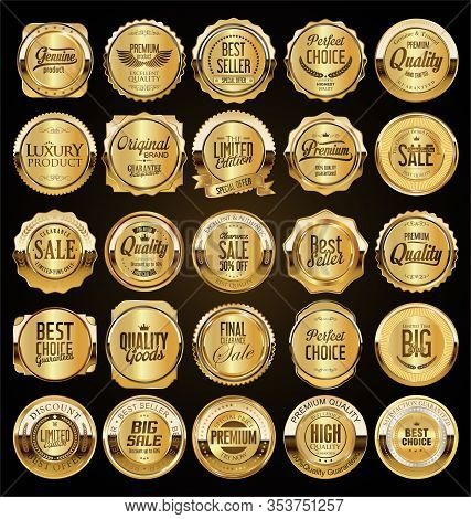 Big Sale Retro Golden Badges And Labels Collection 09653.eps