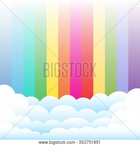 Cartoon Clouds On Rainbow Color Background. Blue Azure Green Yellow Orange Red Pink Sky And Cloud Te