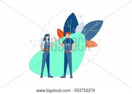 Health, Safety, Environment, Insurance Concept. Young Couple Man And Woman, Boy Girl, Builder Or Eng
