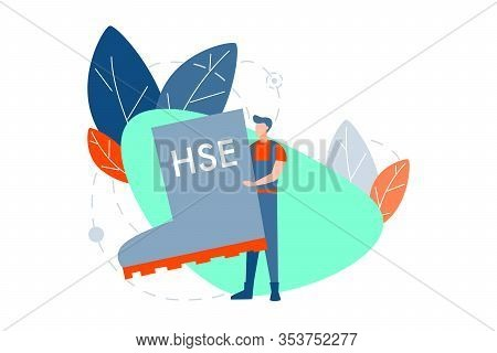 Industrial Hse Concept. Young Man Or Boy, Builder Or Engineer In Overall Is Standing And Holding Big