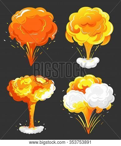 Collection Of Eruptions And Explosions, Isolated Icons For Game Design. Blazing Elements With Smoke,