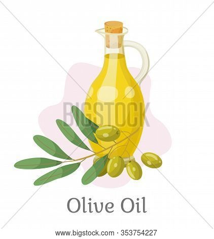 Glass Vessel Contains Golden Liquid Inside. Branch With Olives Near Bottle With Viscous Substance Us