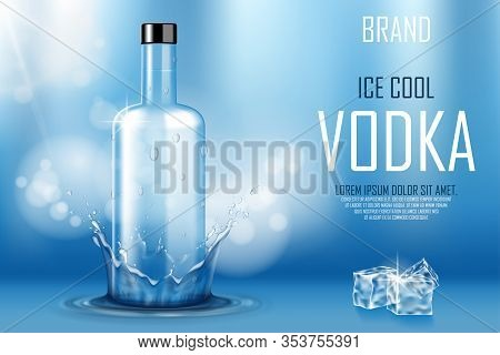 Vodka Bottle With Ice Cubes Ad. Strong Alcohol Drink Mock Up On Shiny Blue Background And Water Spla