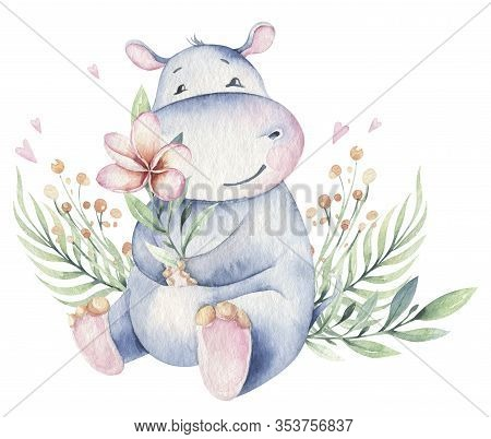 Hand Drawn Cute Isolated Tropical Summer Watercolor Hippo Animals. Hippopotamus Baby And Mother Cart