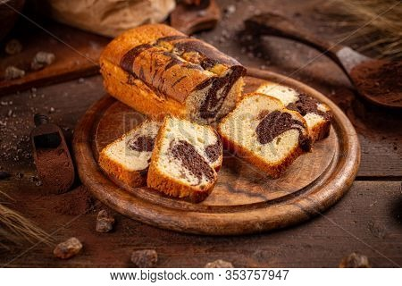 Delicious Sweet Marble Cake Bread On Wooden Board