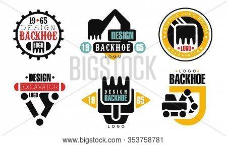 Backhoe Logo Design Collection, Construction Equipment Retro Badges Vector Illustration On White Bac