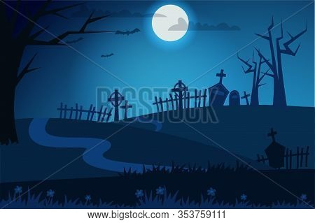 Happy Halloween Flat Vector Banner Concept. Haunted Cemetery At Night. Full Moon, Creepy Atmosphere.
