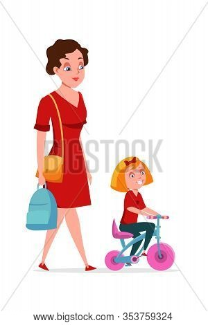 Mother With Daughter Flat Vector Characters. Mom Carrying Schoolkid Rucksack Isolated Clipart On Whi