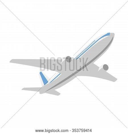 Flying Passenger Plane On A White Background