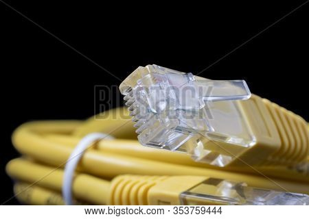Ethernet Yellow Cable And Rj45 Plug Connector