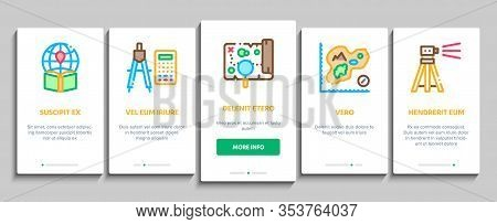 Topography Research Onboarding Mobile App Page Screen Vector. Topography Equipment And Device, Compa