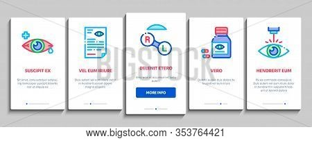 Optometry Medical Aid Onboarding Mobile App Page Screen Vector. Optometry Doctor Equipment And Pills