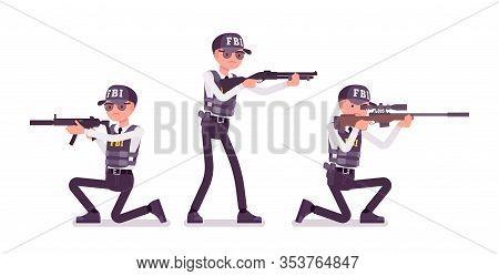 Fbi Agent Armed Service. Federal Bureau Of Investigation Male Employee In Bulletproof Vest Shooting
