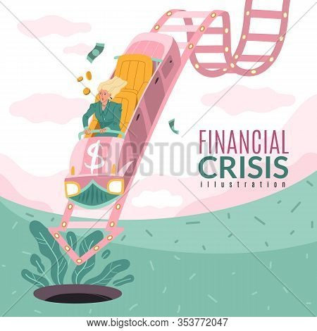 Global Financial Crisis Illustration. Square Conceptual Illustration On The Theme Of The Financial C