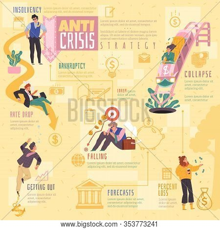 Global Financial Crisis Infographics. Infographics In A Cartoon Flat Style On A Financial Topic Of F