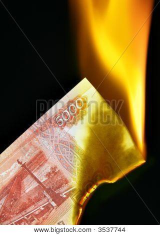 Russian Rubles On Fire