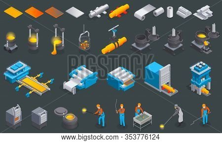 Metallurgy Foundry Industry Isometric Set With Isolated Icons And Images Of Metal Production Factory